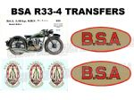 BSA R33-4 Transfers Decals Set